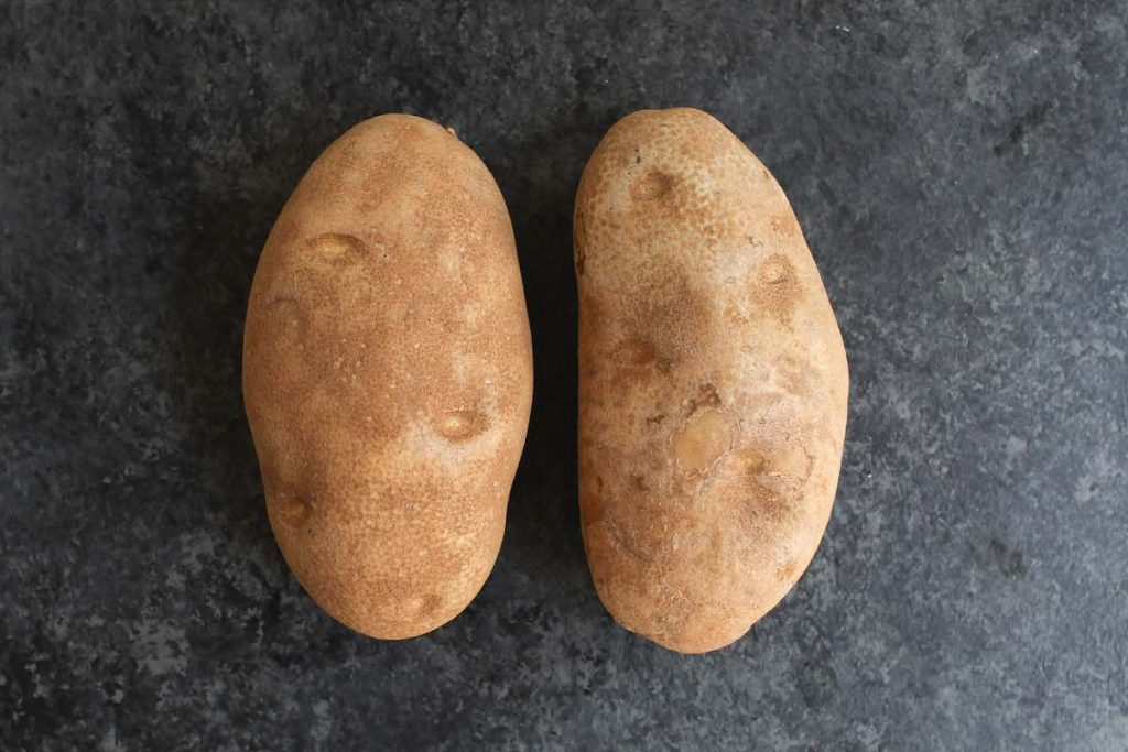 Two large Russet potatoes on the counter.