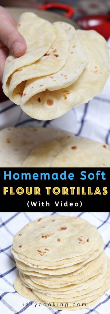 These Homemade Vegan Flour Tortillas are so soft and fluffy – a delicious and healthy alternative to traditional Mexican tortillas. This recipe is easy to make with only 5 inexpensive, easy-to-get ingredients, and can be done completely by hand! #VeganTortillas #VeganFlourTortillas #HomemadeTortillas