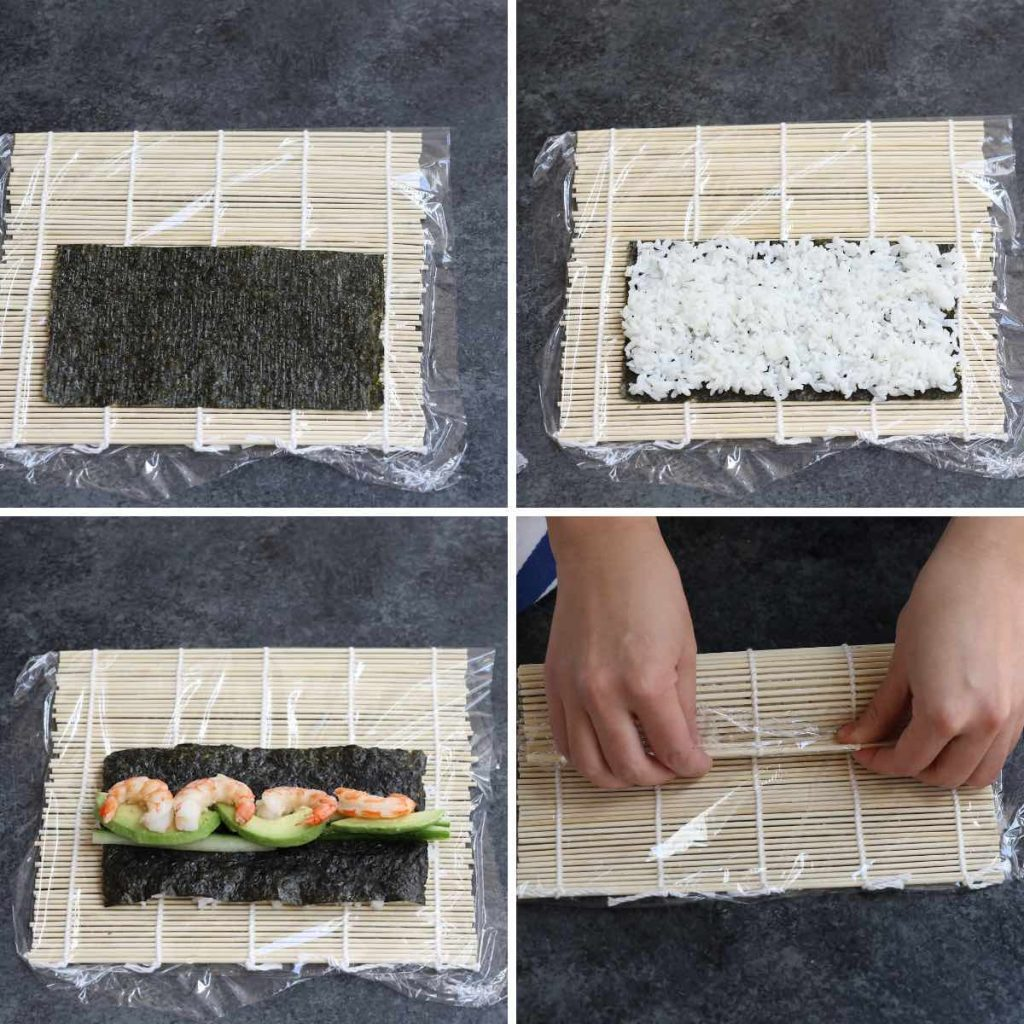 Photo collage showing how to make a Boston roll.