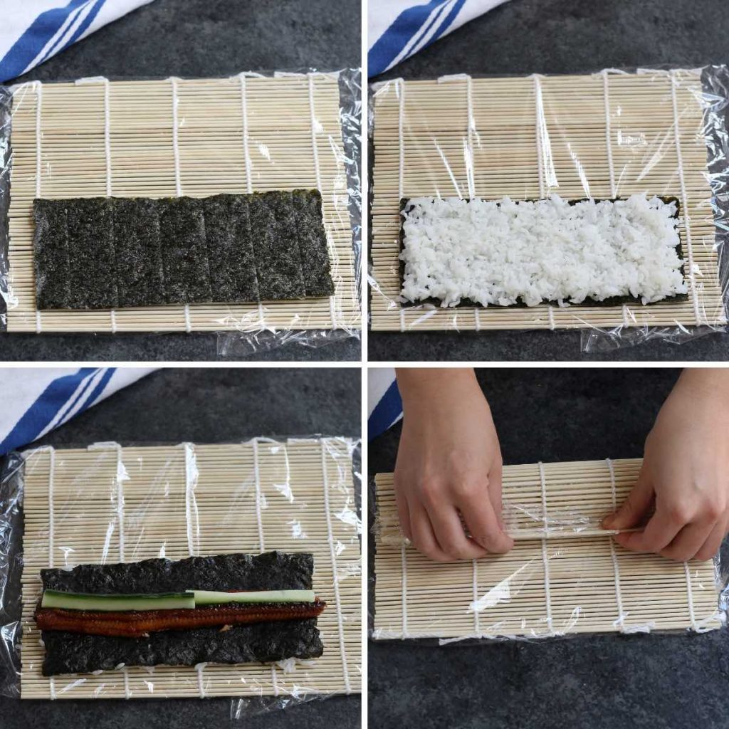Photo collage showing how to make the roll with step-by-step photos.