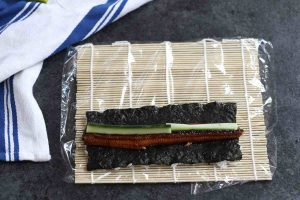 Place unagi strips and cucumber on top of the nori.