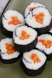 If you have never tried gobo in sushi, you are missing out! Gobo is the Japanese name for burdock root, which is a very popular ingredient in Japanese cuisine. It's incredibly delicious and often used in sushi rolls, miso soup, kinpira, or other side dishes. My favorite is gobo sushi roll, where pickled gobo is rolled in sushi rice and seaweed sheet to make vegetarian rolls. Tangy, sweet and refreshingly crunchy! #GoboSushi #Gobo #BurdockRoot #GoboRecipe