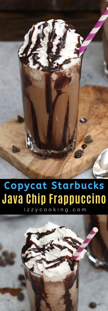 This copycat recipe for Starbucks' Java Chip Frappuccino is the real deal! It gives you all the delicious flavor of the store-bought drink at the fraction of the price. Smooth, creamy, and full of chocolate and coffee flavor, this homemade Frappuccino takes less than 5 minutes with a few simple ingredients. #JavaChipFrappuccino #StarbucksFrappuccino #FrappuccinoRecipe