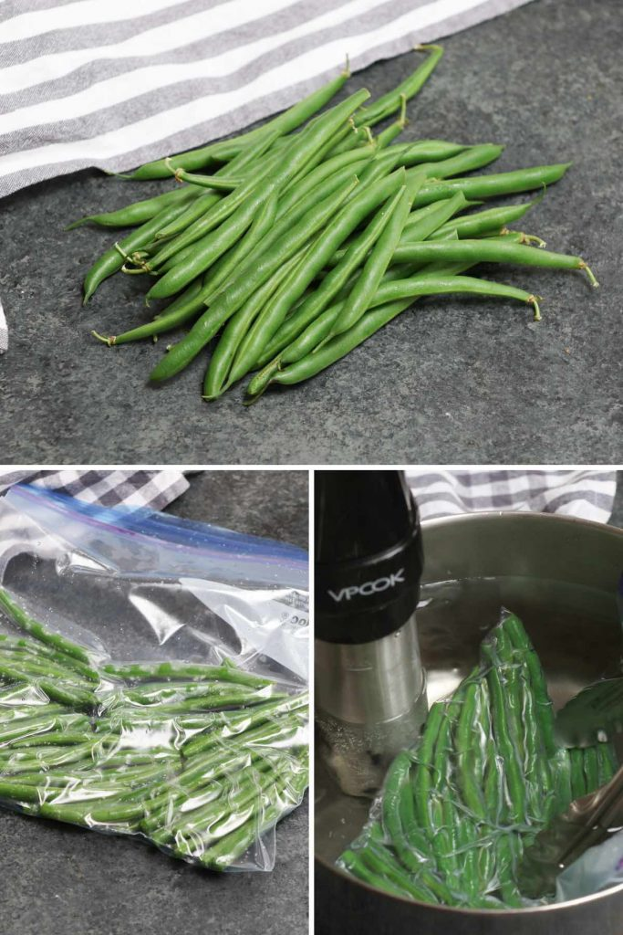 Photo collage showing how to sous vide cook green beans.