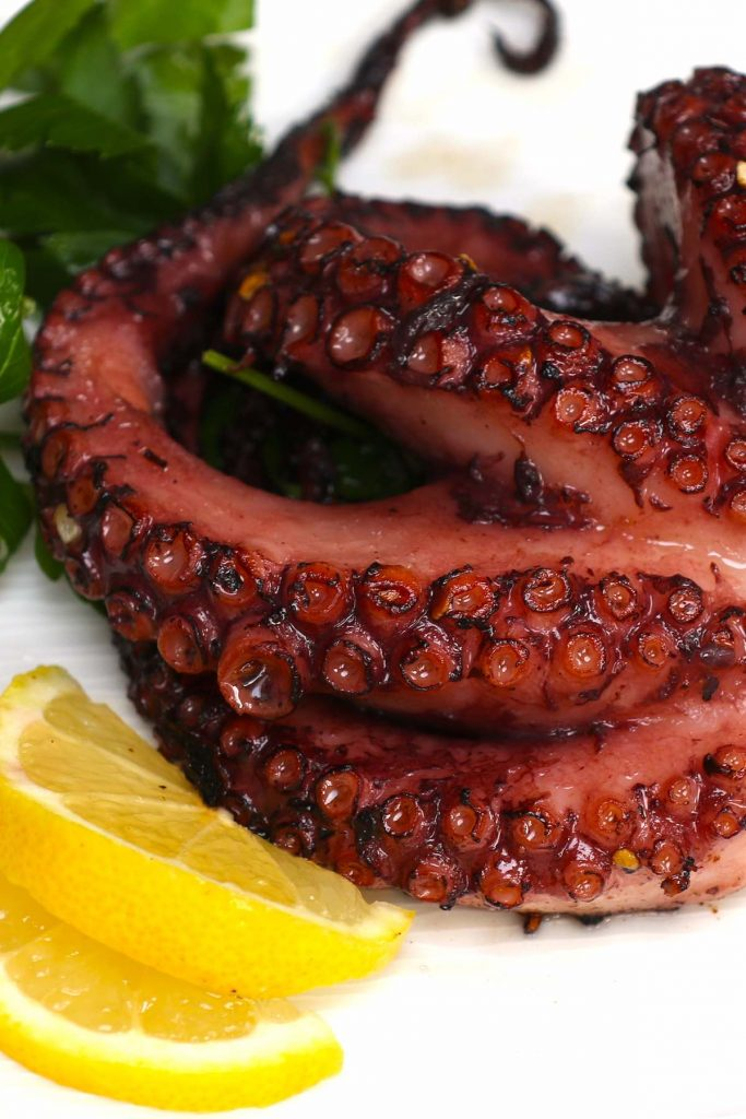 Sous Vide Octopus is the easiest and fail-proof method to cook the perfect octopus – tender and flavorful, with a beautiful char on the outside! Cook octopus in the sous vide water bath at 171ºF (77ºC) for 5 hours, and then quickly grill or sear at the end for the best octopus EVERY TIME! #SousVideOctopus