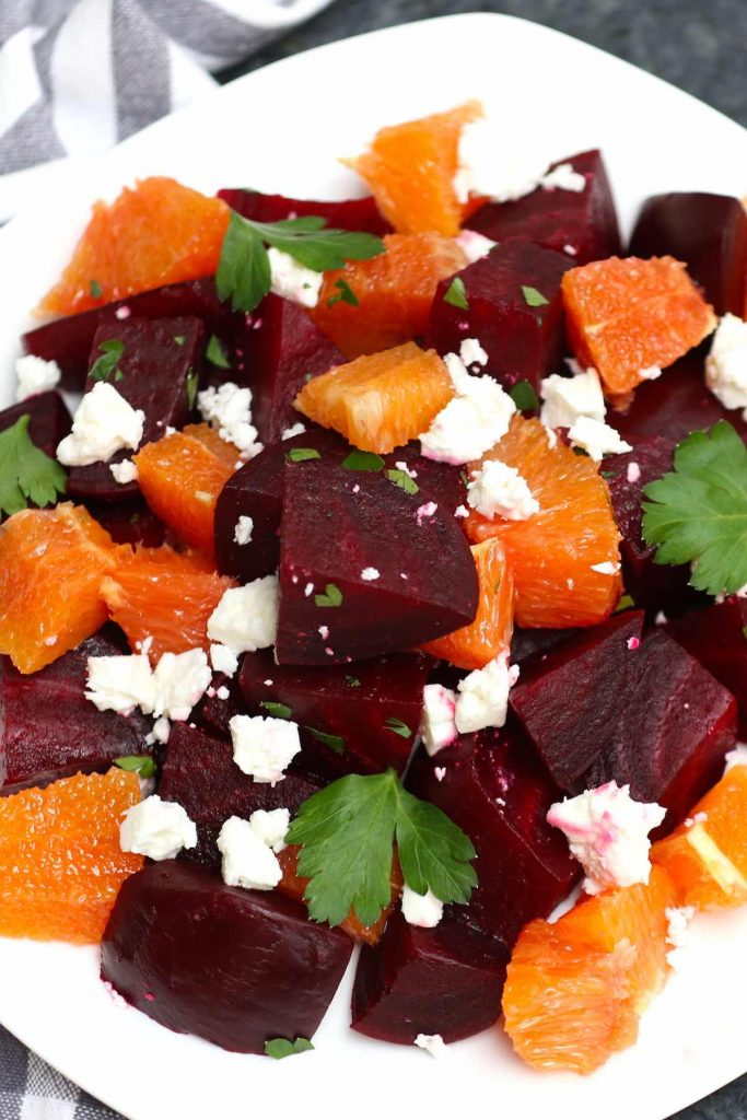 Sous vide beets mixed in a salad.