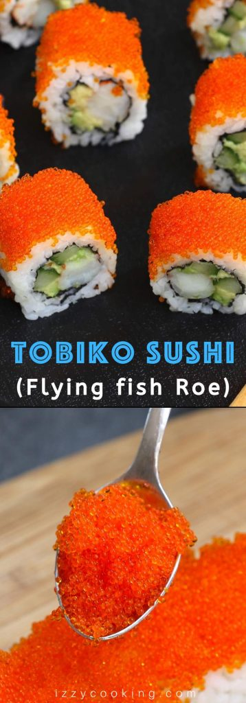 Tobiko is the Japanese word for flying fish roe, which is crunchy and salty with a hint of smoke. It's a popular ingredient in Japanese cuisine as a garnish to sushi rolls. #Tobiko #TobikoSushi