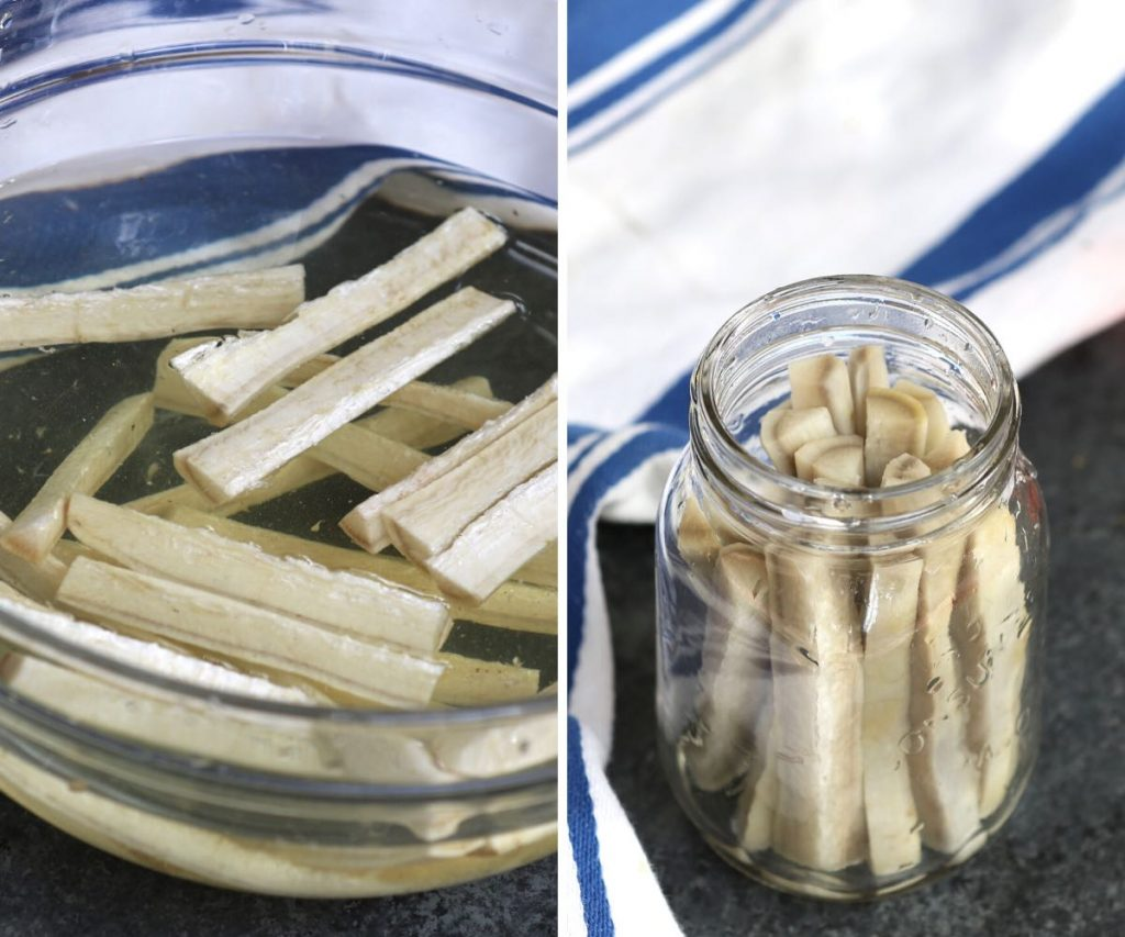 Photo collage showing soaking burdock pieces in vinegar water and then place them in a mason jar.