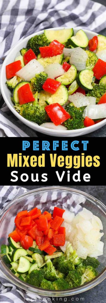 Sous Vide Mixed Vegetables are my favorite side dish. It's the easiest way to make perfect veggies. Here is a how-to guide for making healthy and delicious sous vide vegetables with a variety of veggies including broccoli, zucchini, bell pepper, and onions. #SousVideVegetables #SousVideBroccoli #SousVideZucchini #SousVideBellPepper #SousVideOnions