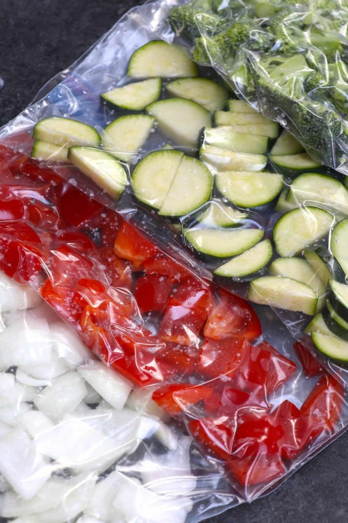 Vegetables vacuum-sealed in bags.