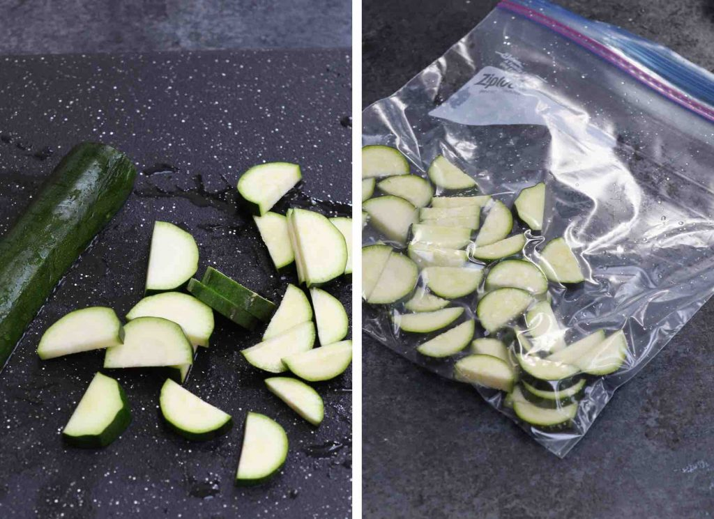 Zucchini cut into small halves on a cutting board, and another photo of zucchini pieces vacuum-sealed in a bag.