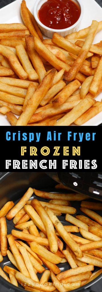 This is the BEST way to cook frozen French fries in the Air Fryer! It's so perfectly golden and crisp on the outside and fluffy and tender inside. Dip into your favorite sauce and the result is always amazing! #AirFryerFrozenFrenchFries #AirFryerFries