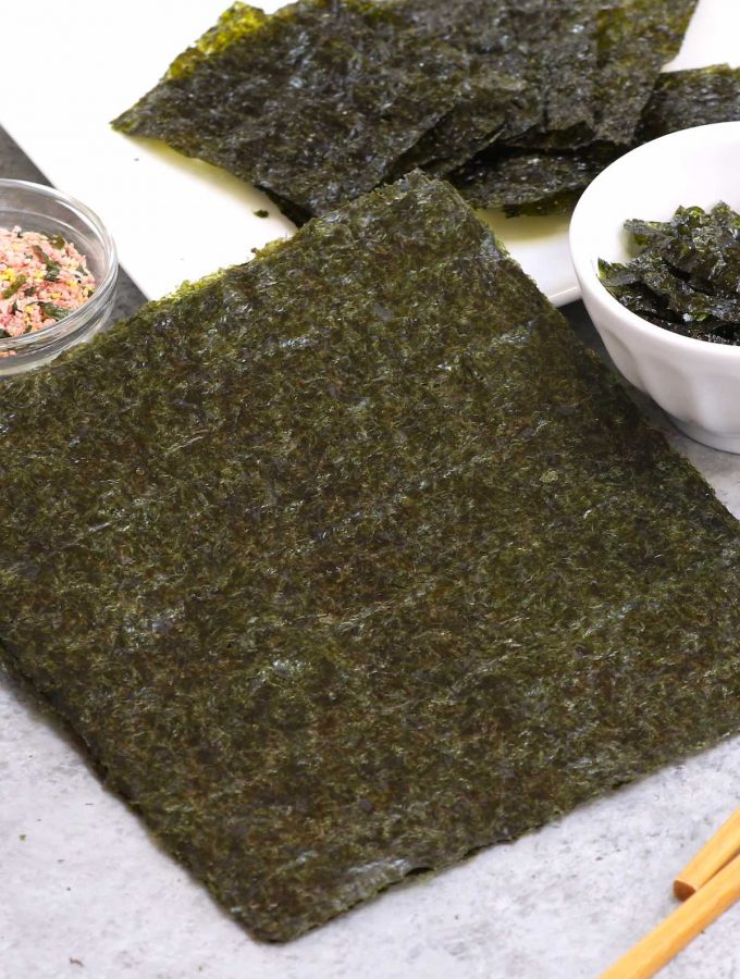Nori is the Japanese word for dried edible seaweed, which usually comes in thin, paper-like sheets. It's a popular ingredient in Japanese and Korean cuisine to wrap rolls of sushi or onigiri.