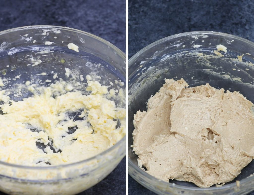 Photo collage showing how to make buttercream.
