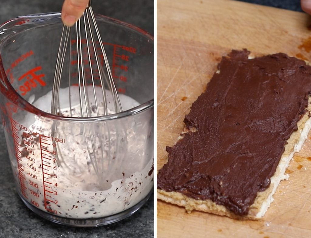 Photos showing how to make chocolate ganache layer.