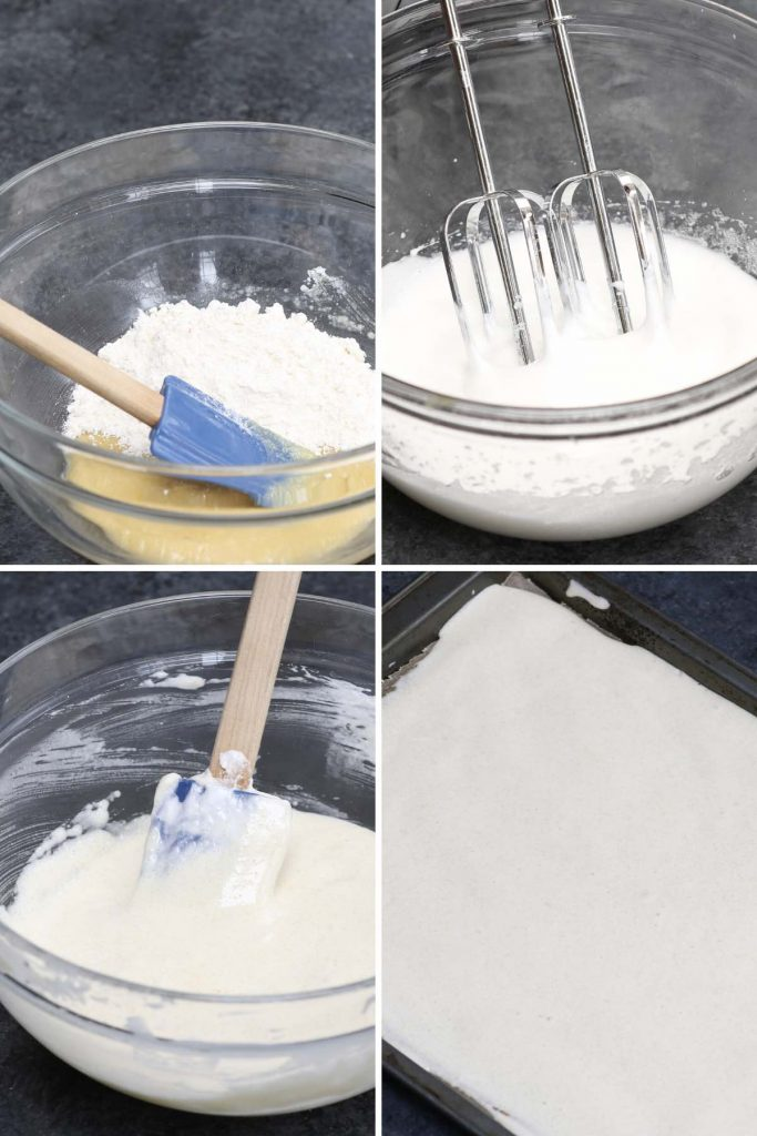 Photo collage showing how to make almond sponge cake batter.