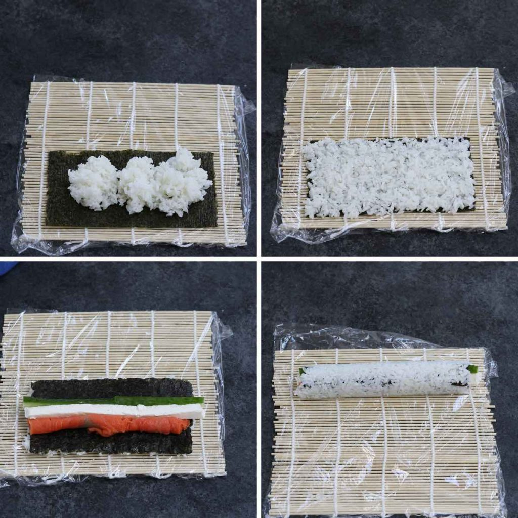 Photo collage showing how to make a philly roll.
