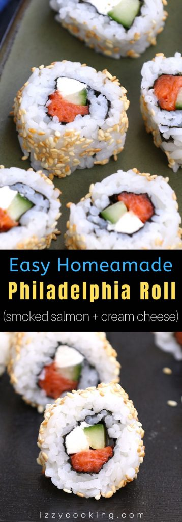 Philadelphia Rolls are filled with smoked salmon, cream cheese and cucumber, then rolled in nori seaweed sheet and sushi rice. In this recipe, you will learn how to make sushi rice, how to roll the sushi, and how to make the delicious and creamy Philly roll. #PhiladelphiaRoll #PhillyRoll #SmokedSalmonSushi #PhillyRollSushi