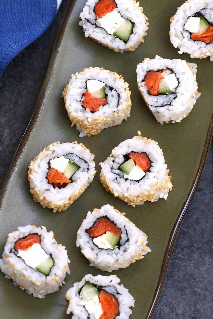 Philadelphia roll sushi on a Japanese plate.