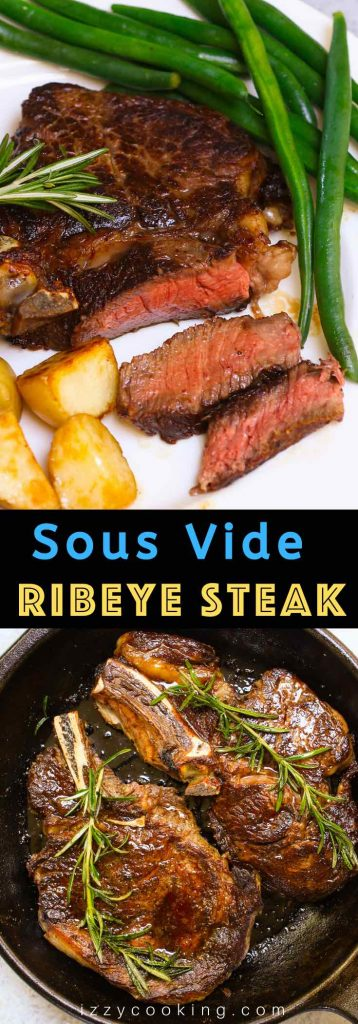 These Sous Vide Ribeye Steaks are cooked in a warm water bath to perfection and then butter-basted quickly in the skillet for a beautiful and flavorful brown crust. It's so tender, juicy and really simple to make at home. It will remind you of those at your favorite steak house! #SousVideRibeye #SousVideRibeyeSteak #SousVideSteak