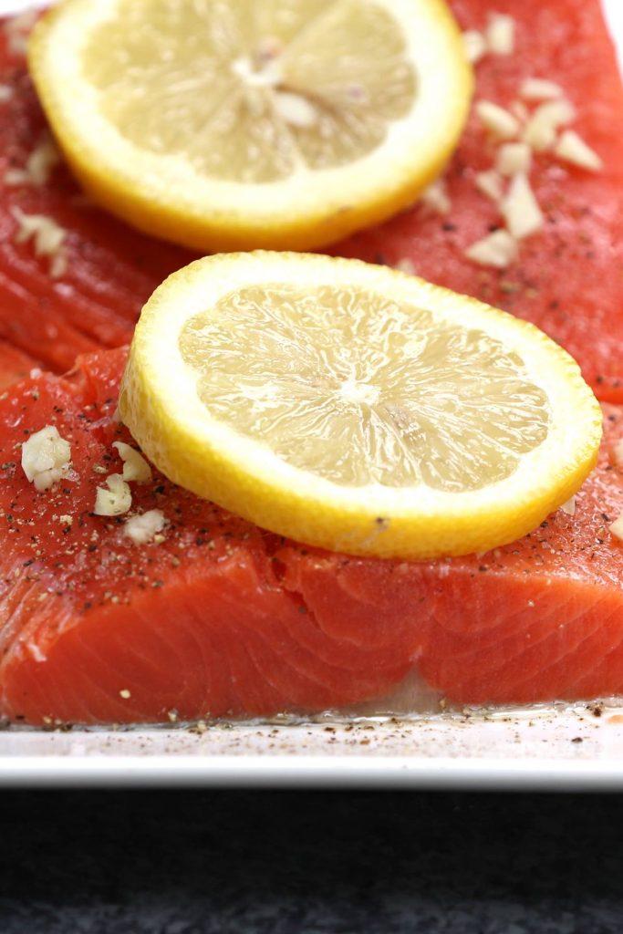 Seasoned raw salmon fillets