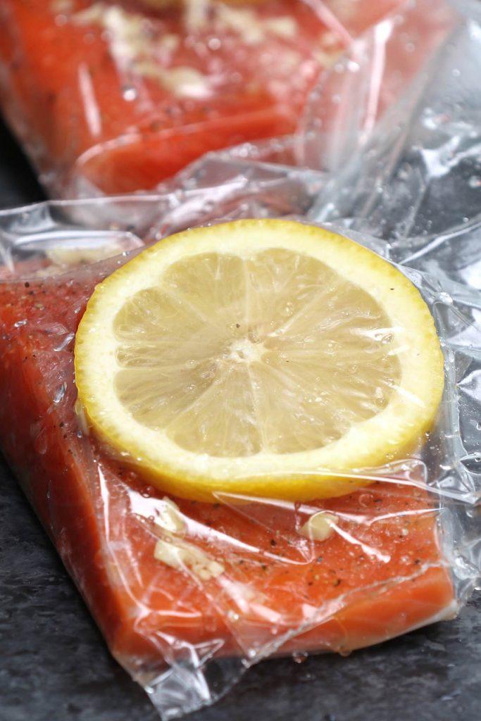 Vacuum sealed salmon in ziptop bags.