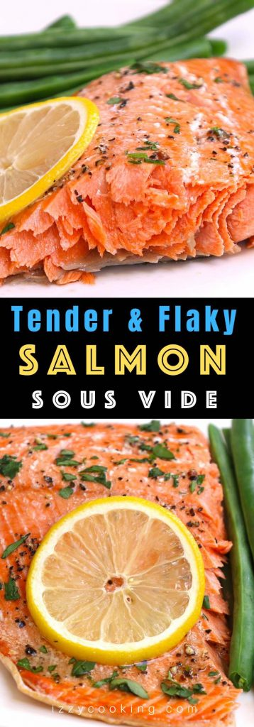 May I impress you with my perfectly tender Sous Vide Salmon? The salmon is cooked at the precise temperature you set, and it's so moist with a flaky texture. This sous vide salmon recipe is healthy, flavorful, and easy to customize with your favorite seasonings. #SousVideSalmon