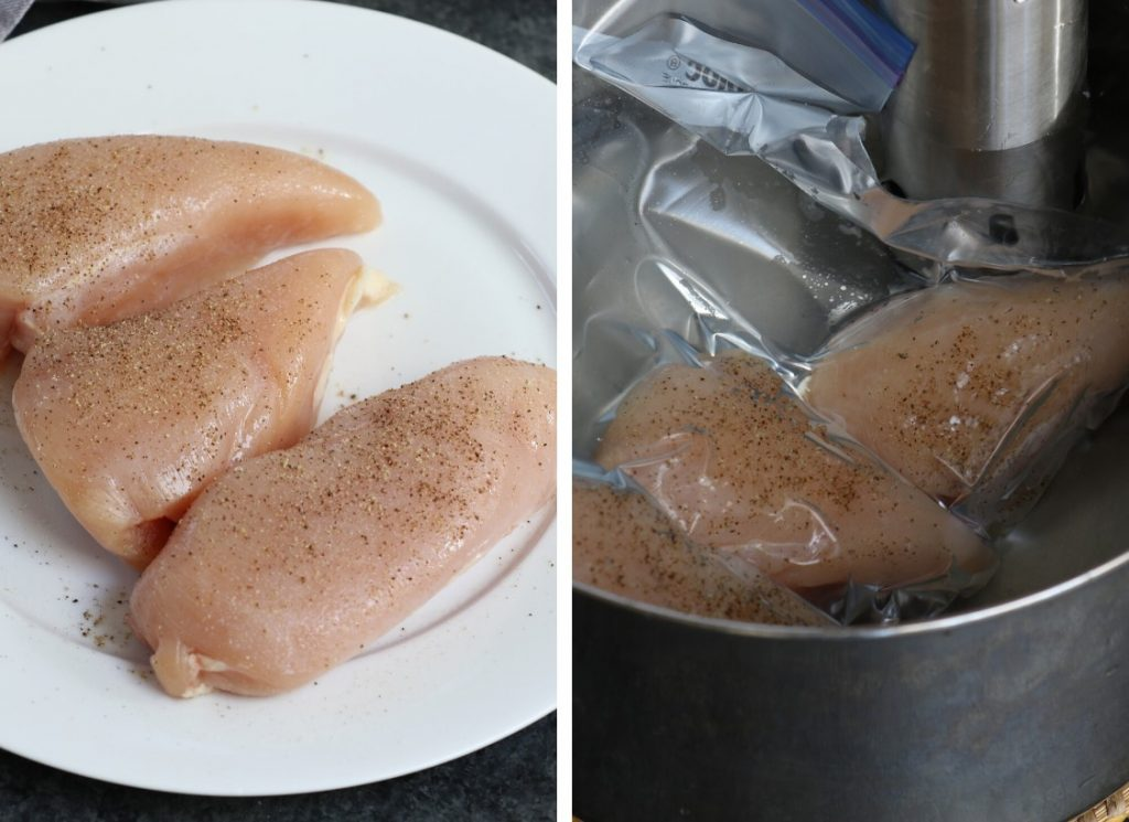 Photo collage showing how to make sous vide shredded chicken.