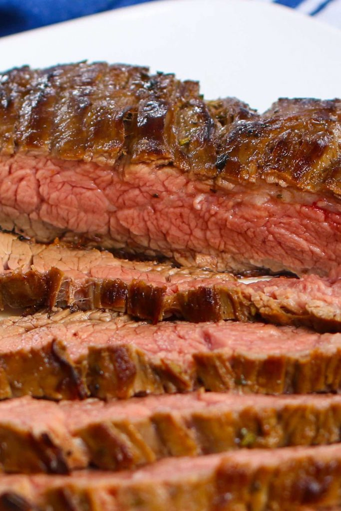 Closeup of sliced sous vide marinated steak.