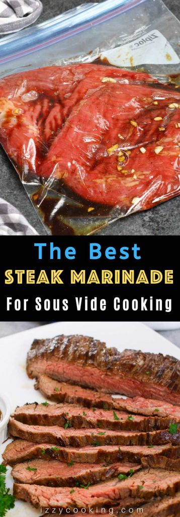 The only Sous Vide Steak Marinade you'll ever need. It makes super juicy and flavorful steak every time! This marinade recipe uses staple ingredients you likely already have on hand, tenderizing the meat while adding so much flavor. It's incredibly easy to make and great for any cut of beef. #SousVideSteakMarinade #SteakMarinade #SousVideSteak