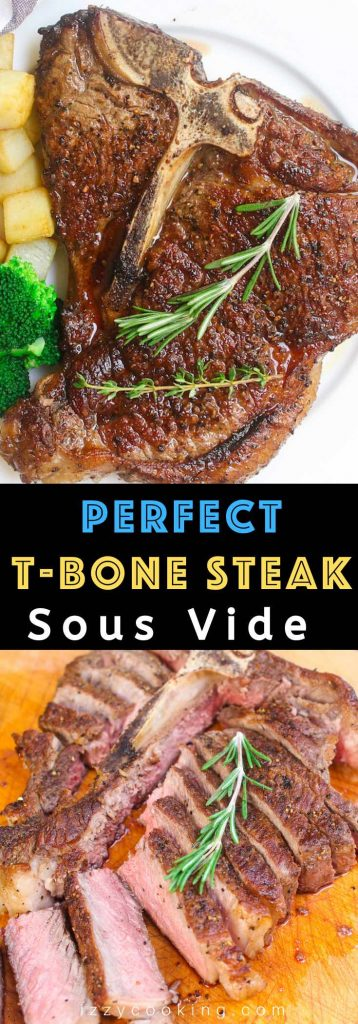 Sous Vide T-bone Steak is a no-fail recipe to cook this special cut of beef, making it perfectly tender, juicy and flavorful! Cooking it at a precise temperature in the sous vide water bath and finishing in the skillet produces the best T-bone steak. It's better than your favorite steakhouse! #sousVideTbone #SousVideTboneSteak #SousVideSteak