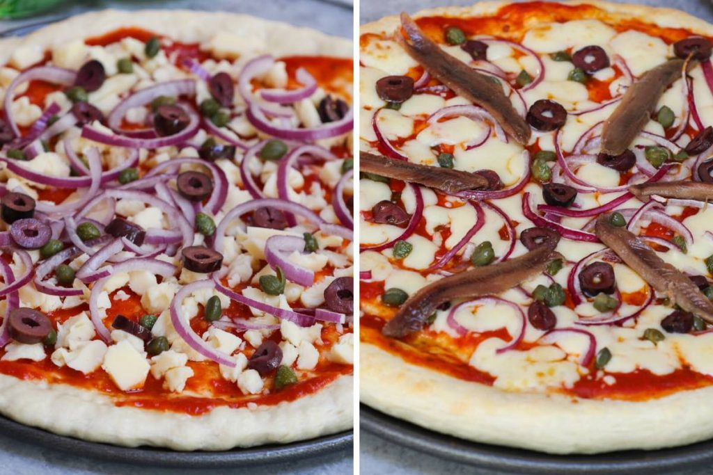 Photo on the left showing adding toppings on the pizza dough; photo on the right showing adding anchovies on to the par-cooked pizza.