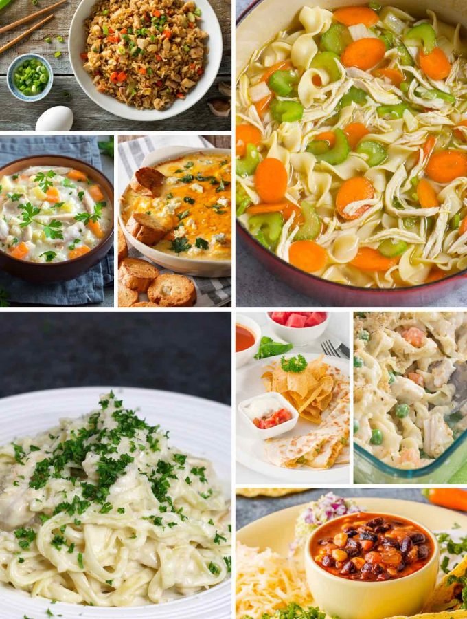 Canned chicken recipes including noodle soup, fried rice, taco soup, quesadillas, and fried rice.