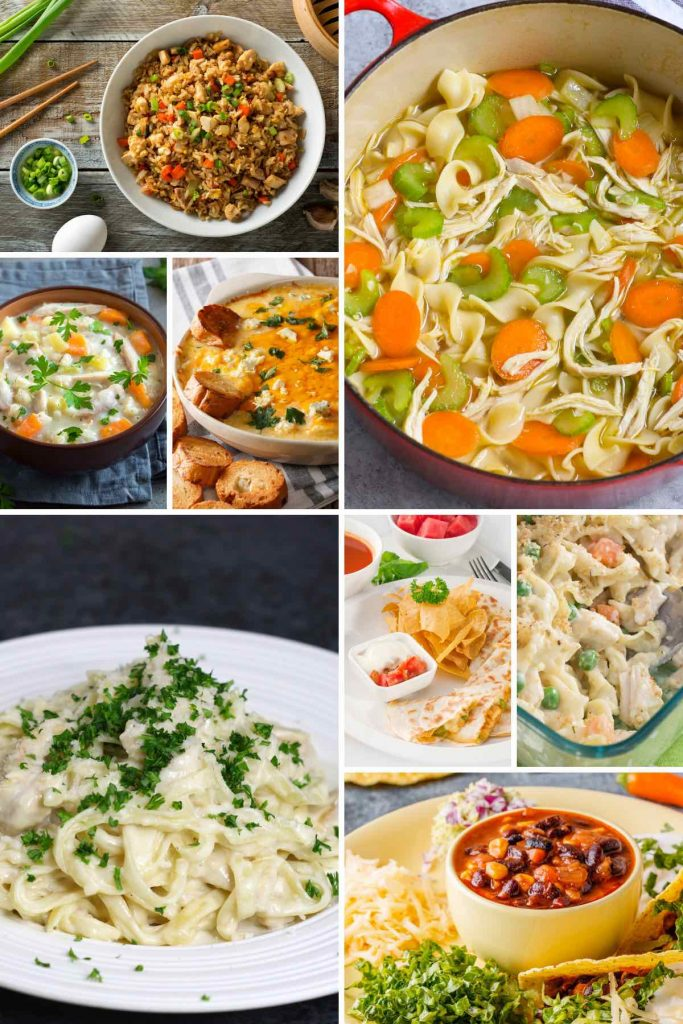 Canned chicken recipes such as noodle soup, fried rice, taco soup, quesadillas, and casserole.
