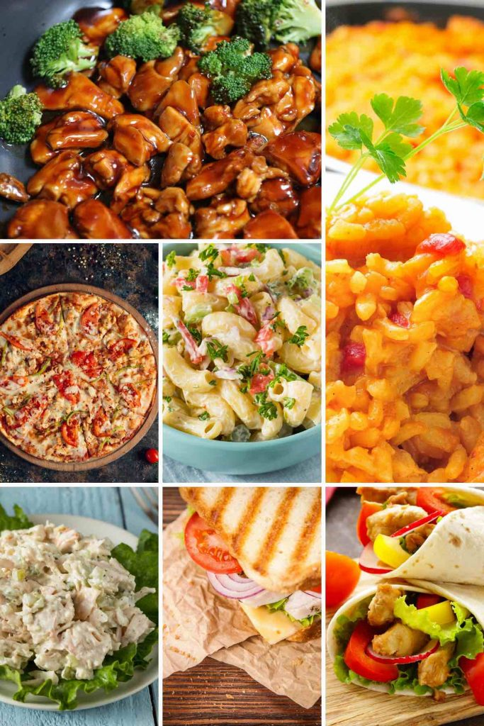 Canned chicken recipes such as stir fry, pizza, sandwiches, and burritos.