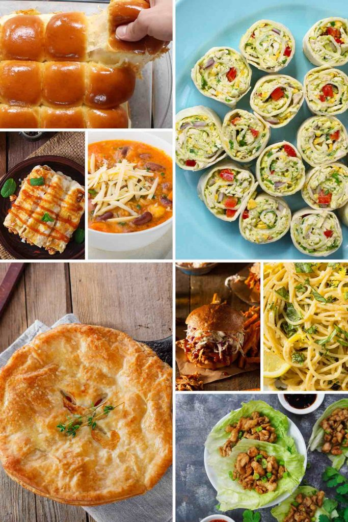 Canned chicken recipes such as pot pie, sliders, roll-ups and lettuce wraps.
