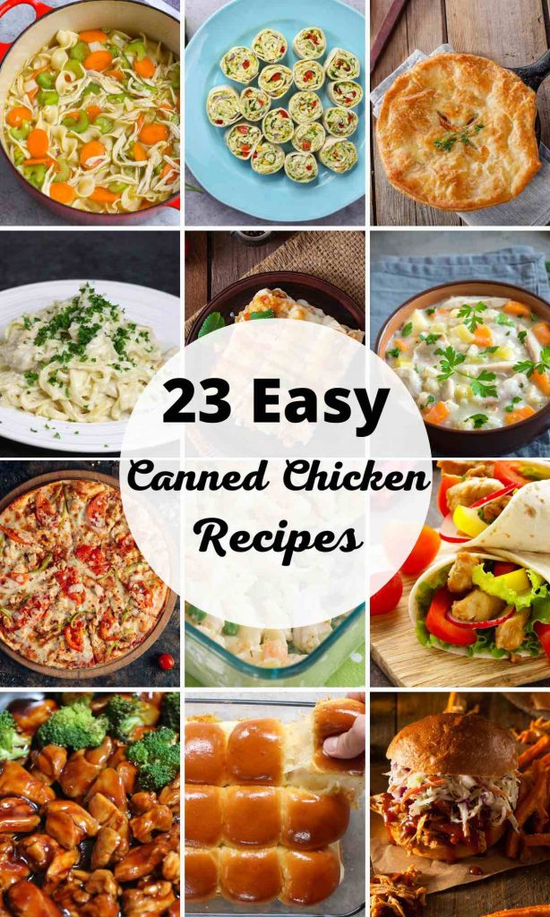 Want to save time in your kitchen and get creative with canned chicken? Here are 23 easy canned chicken recipes to turn this popular protein into something amazing! These recipes include options for breakfast, lunch, and dinner such as hearty soups, cheesy casseroles, and refreshing salads. #CannedChickenRecipes