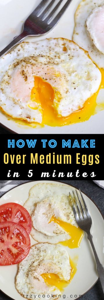 Over-medium eggs are a beautiful thing. The whites are just firm enough on the outside to hold a slightly runny, golden yolk that oozes deliciousness. And with a few tips, you too can learn how to fry an over-medium egg perfectly every time! It takes only 5 minutes and it's so easy to make! #OverMediumEggs #HowToMakeOverMediumEggs #HowToCookOverMediumEggs
