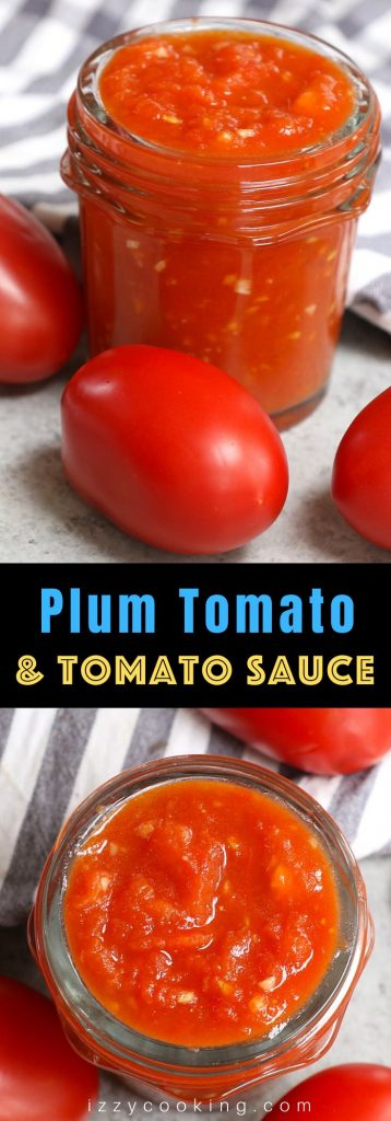 Easy tomato sauce made with plum tomatoes. You'll need a few pantry staples like olive oil, garlic, vinegar, butter, and salt. Best of all, this will freeze so beautifully!