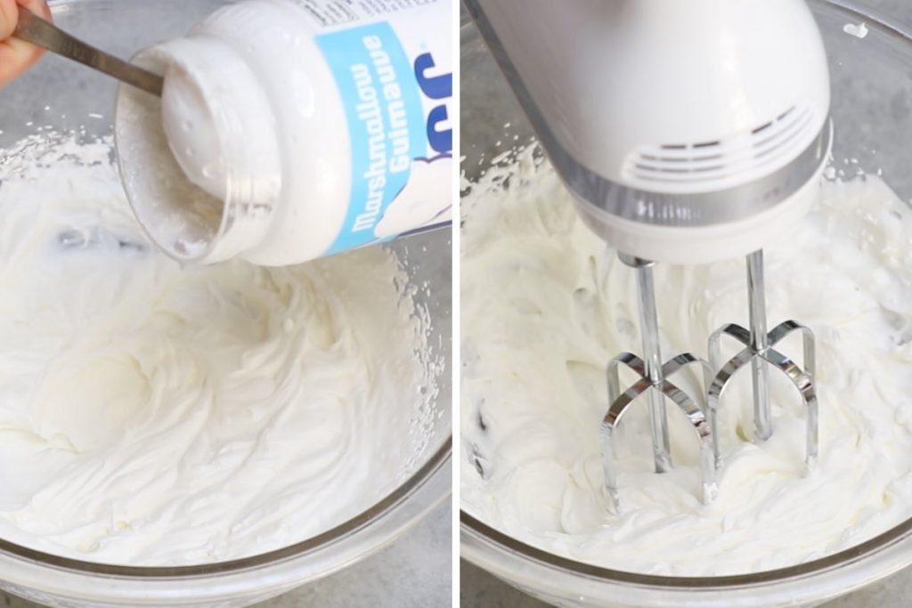 Photo collage showing how to make marshmallow-infused whipped cream.