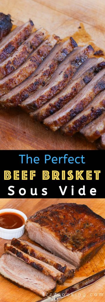 Sous Vide Brisket is cooked low and slow in a warm water bath until perfectly tender and juicy. It's a process for melt in your mouth beef brisket with an addictive barbecue sauce. Both smokeless and smoked methods are included. #SousVideBrisket #SousVideBeefBrisket #SousVideBBQBrisket