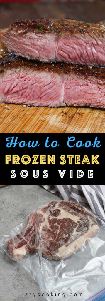 Once you have learned how to sous vide frozen steak, you'll be amazed at how convenient and easy to cook or meal prep a delicious weeknight dinner! Cooking frozen beef is one of the best features of a sous vide machine. It's perfectly tender, juicy and full of flavor. You'll never take the time to thaw your steak again! #SousVideFrozenSteak