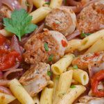 For the juicy texture and hearty flavor, nothing beats scrumptious Sous Vide Sausage. It's cooked in a sous vide warm water bath at a precise temperature with minimal effort. The sausage is then cut into rounds and tossed with cooked pasta and vegetables in a delicious sauce. It's a perfect weeknight dinner that tastes like it came from a restaurant!