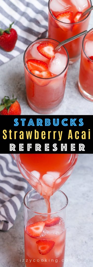 This homemade Starbucks Strawberry Acai Refresher gives you all the delicious flavor of the store-bought drink at the fraction of the price. You're going to love this copycat recipe as it tastes and looks just like the real thing. Plus you can customize how much sweetness or caffeine you prefer. #StrawberryAcaiRefresher #StrawberryAcaiRefresherRecipe #StarbucksStrawberryAcaiRefresher