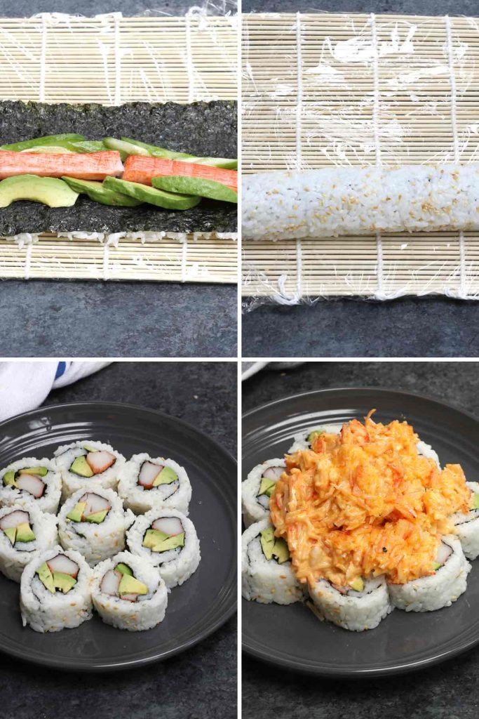 Photo collage showing how to make volcano roll with step-by-step photos.