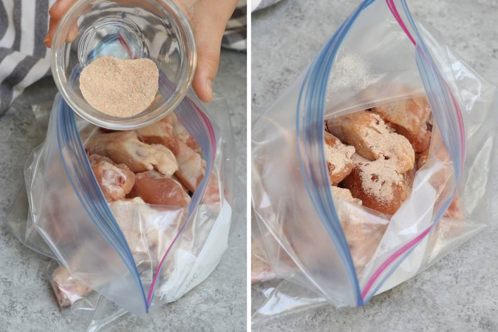 Photo collage showing adding spice rubs over the chicken wings in a zip-top bag.