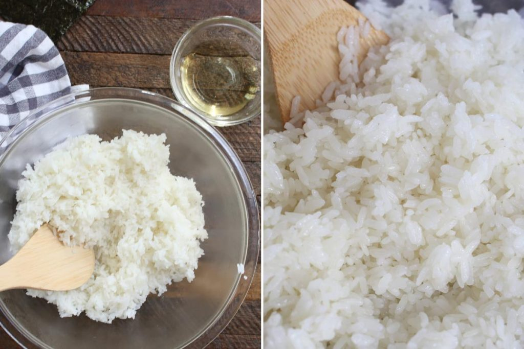 Photo showing making the sushi rice.