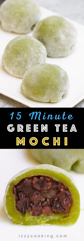 Homemade Green Tea Mochi is soft, chewy, and sweet with delicious matcha flavor and beautiful green color. This classic Japanese treat is really easy to make at home and better than that of your favorite restaurant! Plus you can customize the filling with red bean paste, strawberry, or ice cream. #GreenTeaMochi #MatchaMochi