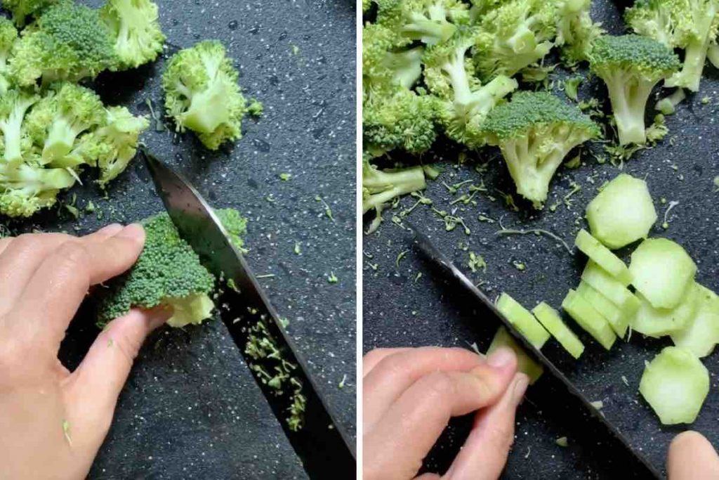 Cutting the florets and stem into bite-sized pieces.