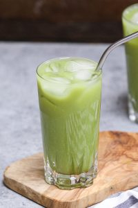 Have you tried the new Starbucks Iced Pineapple Matcha Drink? It's incredibly refreshing with a beautiful green color. This copycat vegan green tea drink is a real deal and has the perfect blend of coconut milk, matcha green tea, pineapple, and ginger flavor. When making it at home, you can customize easily with your desired sweet level and make it with or without caffeine. #IcedPineappleMatchDrink #StarbucksPineappleMatcha